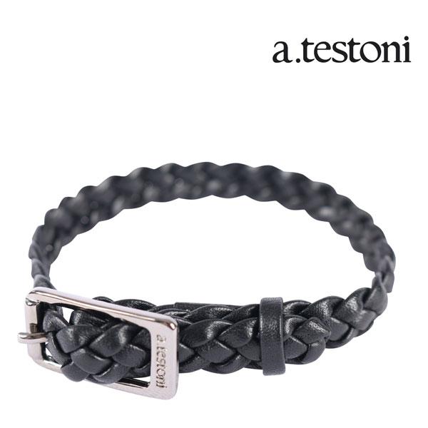 a.testoni ア・テストーニ ブレスレット メンズ ブラック 黒 レザー 並行輸入品 メンズファッション 男性用 ビジネス 日本未入荷 ラッピング無料 送料無料