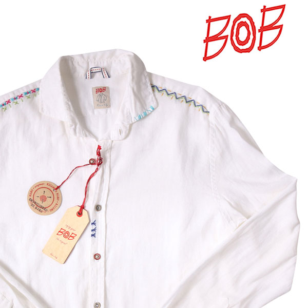 【L】 BOB ボブ 長袖シャツ R363 メンズ 春夏 ホワイト 白 並行輸入品 メンズファッション 男性用 ビジネス カジュアルシャツ 日本未入荷 ラッピング無料 送料無料