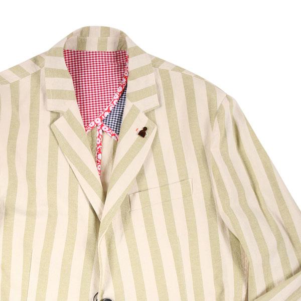 【50】 Indiuidual インディビデュアル ジャケット メンズ 春夏 ストライプ グリーン 緑 並行輸入品 メンズファッション 男性用 ビジネス アウター トップス 日本未入荷 ラッピング無料 送料無料