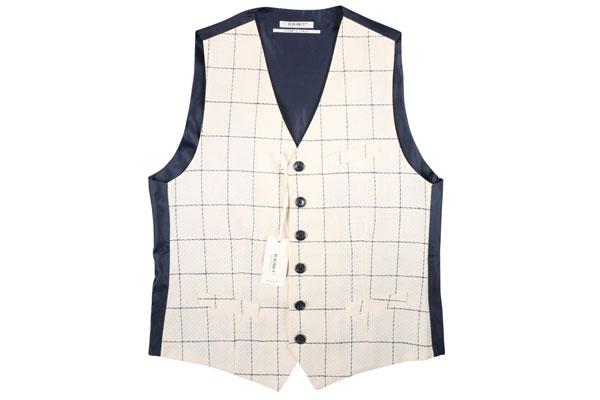 【XXL】 EXIBIT エグジビット ジレ メンズ 春夏 チェック ホワイト 白 並行輸入品 メンズファッション 男性用 ビジネス ベスト 大きいサイズ 日本未入荷 ラッピング無料 送料無料