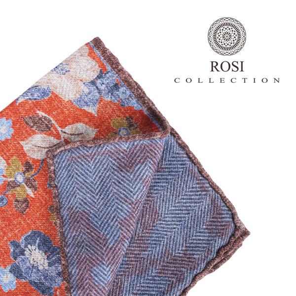 ROSI COLLECTION ロージコレクション ポケットチーフ メンズ リバーシブル 花柄 オレンジ 並行輸入品 メンズファッション 男性用 ビジネス 日本未入荷 ラッピング無料 送料無料
