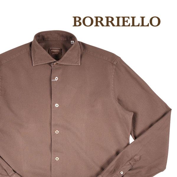 【38】 BORRIELLO ボリエッロ 長袖シャツ メンズ ブラウン 茶 並行輸入品 メンズファッション 男性用 ビジネス カジュアルシャツ 日本未入荷 ラッピング無料 送料無料
