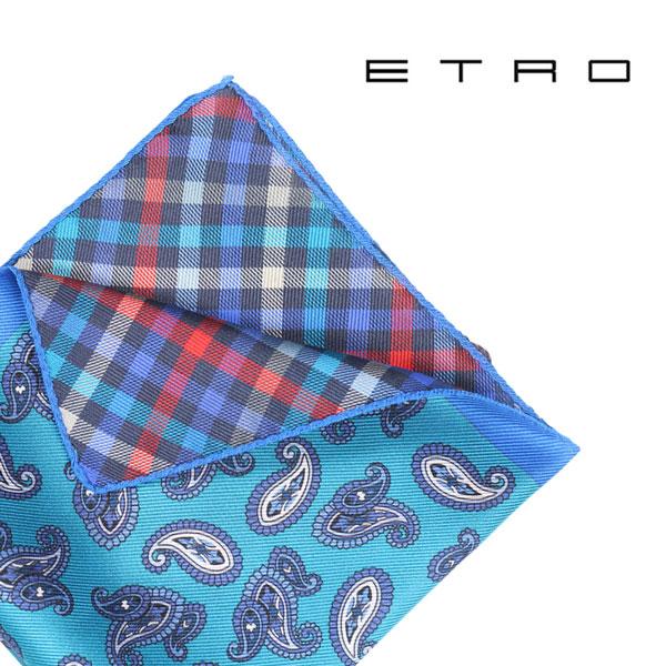 ETRO エトロ ポケットチーフ メンズ ペイズリー ブルー 青 並行輸入品 メンズファッション 男性用 ビジネス 日本未入荷 ラッピング無料 送料無料
