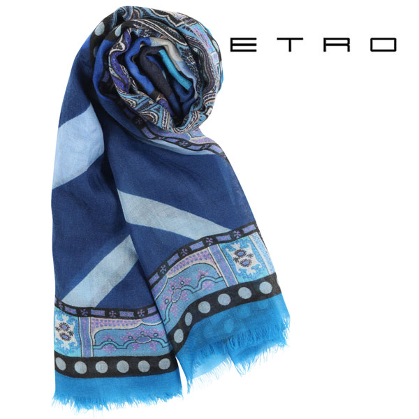 ETRO エトロ ストール メンズ シルク混 ペイズリー ブルー 青 並行輸入品 メンズファッション 男性用 ビジネス 日本未入荷 ラッピング無料 送料無料