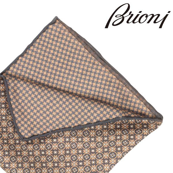 BRIONI ブリオーニ ポケットチーフ 0741A メンズ リバーシブル ブラウン 茶 並行輸入品 メンズファッション 男性用 ビジネス 日本未入荷 ラッピング無料 送料無料