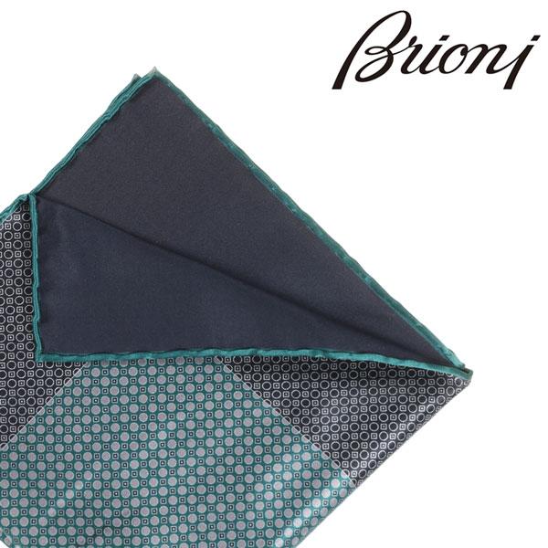 BRIONI ブリオーニ ポケットチーフ 7468 メンズ リバーシブル グリーン 緑 並行輸入品 メンズファッション 男性用 ビジネス 日本未入荷 ラッピング無料 送料無料