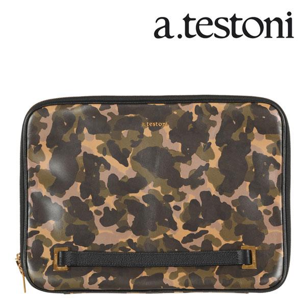A.TESTONI ア・テストーニ クラッチバッグ メンズ 迷彩 グリーン 緑 レザー 並行輸入品 メンズファッション 男性用 ビジネス 日本未入荷 ラッピング無料 送料無料