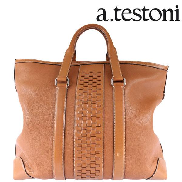 A.TESTONI ア・テストーニ ボストンバッグ メンズ ブラウン 茶 レザー 並行輸入品 メンズファッション 男性用 ビジネス 日本未入荷 ラッピング無料 送料無料