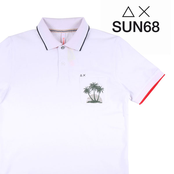 【S】 SUN68 サンシックスティーエイト 半袖ポロシャツ メンズ 春夏 ホワイト 白 並行輸入品 メンズファッション 男性用 ビジネス トップス 日本未入荷 ラッピング無料 送料無料