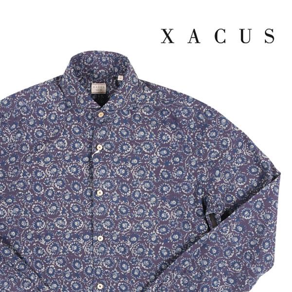 送料無料 XACUS ザカス 長袖シャツ 722 ワインレッド 超目玉 38 A22045 ネイビー 大決算セール 22045 x