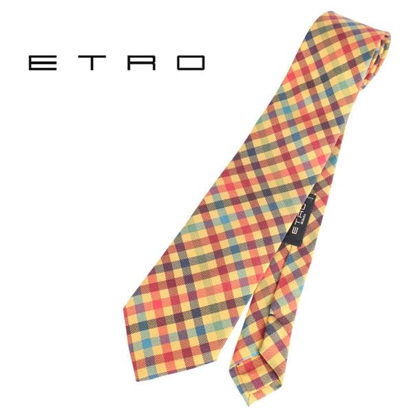 ETRO エトロ ネクタイ メンズ チェック イエロー 黄 並行輸入品 メンズファッション 男性用 ビジネス 日本未入荷 ラッピング無料 送料無料