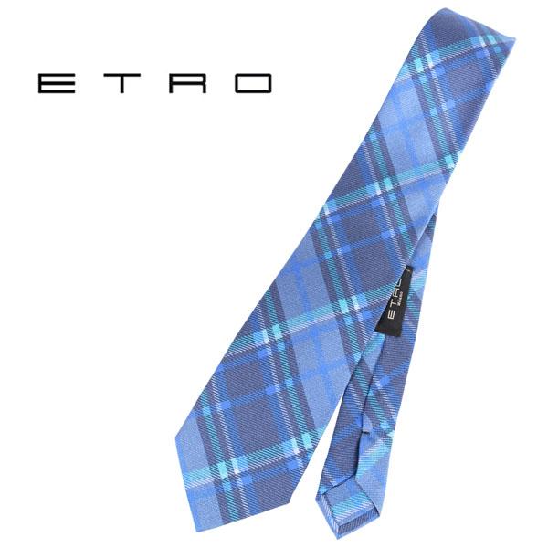 ETRO エトロ ネクタイ メンズ チェック ネイビー 紺 並行輸入品 メンズファッション 男性用 ビジネス 日本未入荷 ラッピング無料 送料無料