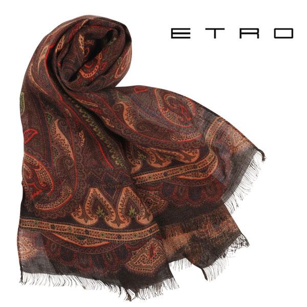 ETRO エトロ ストール メンズ 春夏 リネン100% ペイズリー ブラウン 茶 並行輸入品 メンズファッション 男性用 ビジネス 日本未入荷 ラッピング無料 送料無料