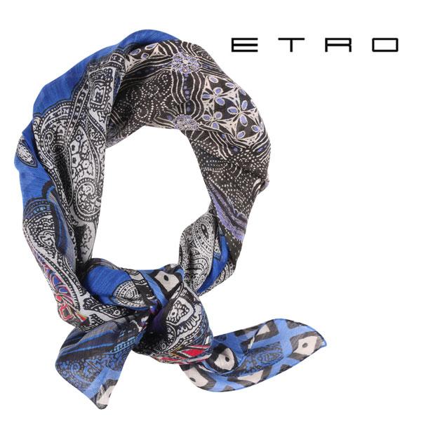 ETRO エトロ ストール メンズ 春夏 シルク混 ペイズリー ブルー 青 並行輸入品 メンズファッション 男性用 ビジネス 日本未入荷 ラッピング無料 送料無料