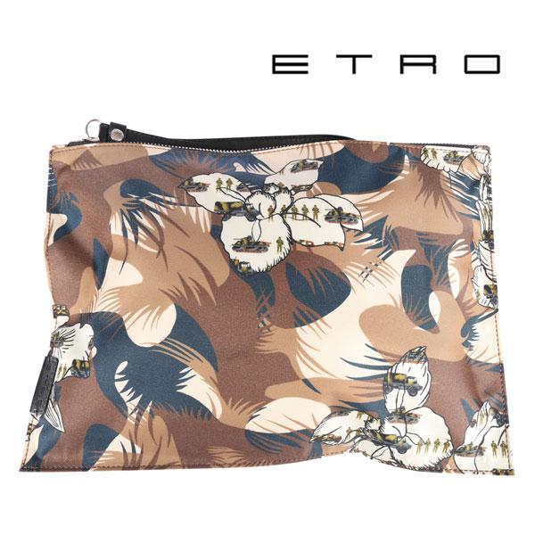ETRO エトロ クラッチバッグ メンズ 花柄 ブラウン 茶 並行輸入品 メンズファッション 男性用 ビジネス 日本未入荷 ラッピング無料 送料無料
