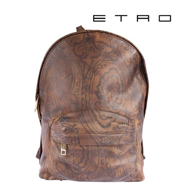 ETRO エトロ リュック メンズ レザー ペイズリー ブラウン 茶 レザー 並行輸入品 メンズファッション 男性用 ビジネス 日本未入荷 ラッピング無料 送料無料