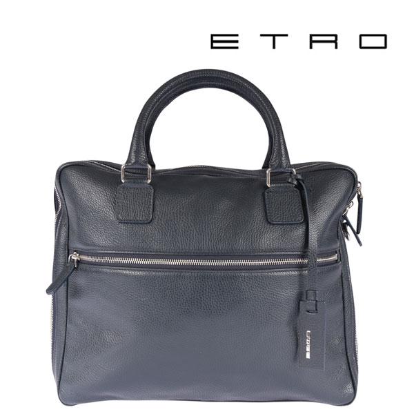ETRO エトロ ブリーフケース メンズ レザー ネイビー 紺 レザー 並行輸入品 メンズファッション 男性用 ビジネス 日本未入荷 ラッピング無料 送料無料
