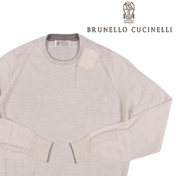 【50】 BRUNELLO CUCINELLI ブルネロクチネリ 丸首セーター M2400100 メンズ カシミヤ混 ホワイト 白 並行輸入品 メンズファッション 男性用 ビジネス ニット 日本未入荷 ラッピング無料 送料無料