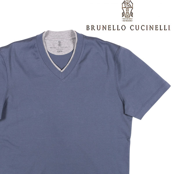 【XS】 BRUNELLO CUCINELLI ブルネロクチネリ Vネック半袖Tシャツ M0T611334 メンズ 春夏 ネイビー 紺 並行輸入品 メンズファッション 男性用 ビジネス トップス 日本未入荷 ラッピング無料 送料無料