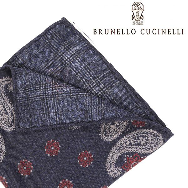 BRUNELLO CUCINELLI ブルネロクチネリ ポケットチーフ MG8850091 メンズ ペイズリー ネイビー 紺 並行輸入品 メンズファッション 男性用 ビジネス 日本未入荷 ラッピング無料 送料無料