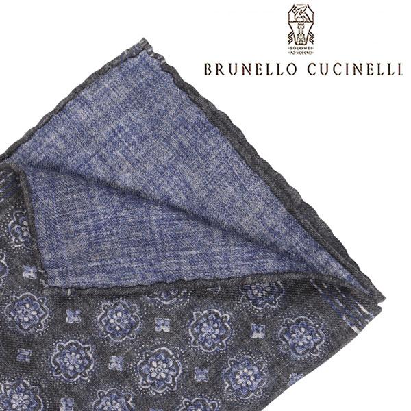 BRUNELLO CUCINELLI ブルネロクチネリ ポケットチーフ MG8840091 メンズ 花柄 グレー 灰色 並行輸入品 メンズファッション 男性用 ビジネス 日本未入荷 ラッピング無料 送料無料