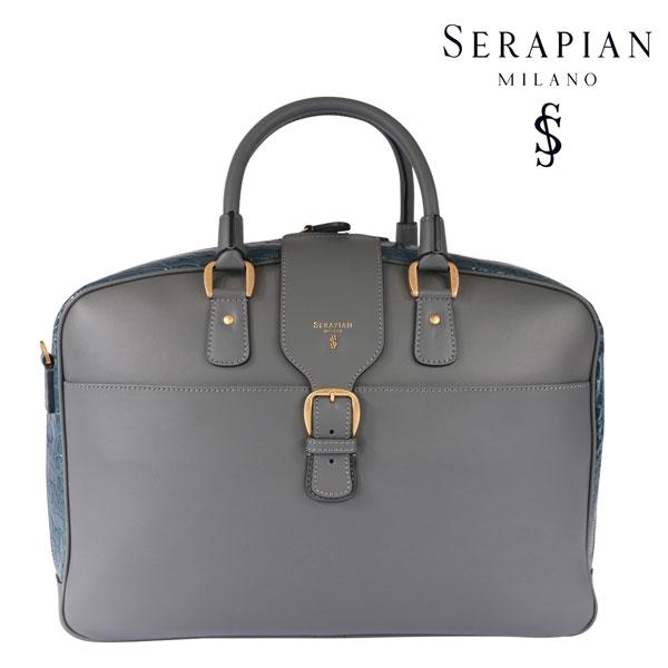 SERAPIAN セラピアン ブリーフケース メンズ クロコダイル グレー 灰色 レザー 並行輸入品 メンズファッション 男性用 ビジネス 日本未入荷 ラッピング無料 送料無料