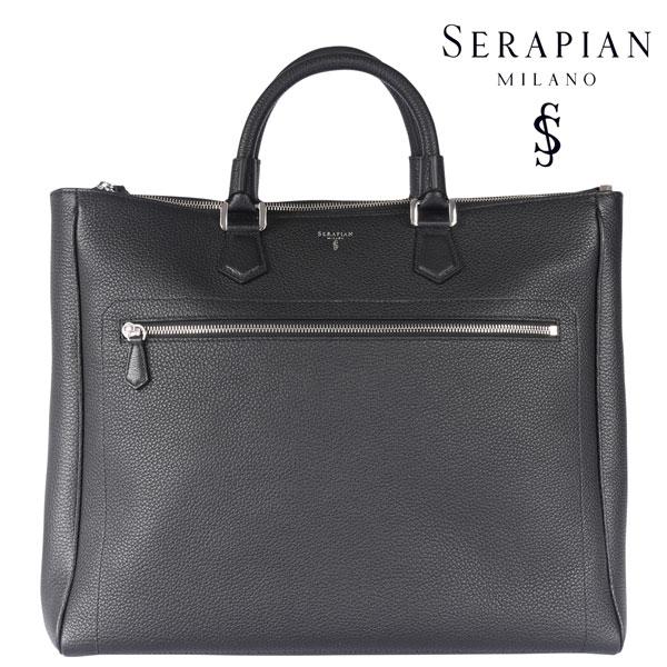 SERAPIAN セラピアン トートバッグ メンズ レザー ブラック 黒 レザー 並行輸入品 メンズファッション 男性用 ビジネス 日本未入荷 ラッピング無料 送料無料