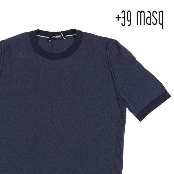 【S】 +39 masq マスク Uネック半袖Tシャツ メンズ 春夏 ネイビー 紺 並行輸入品 メンズファッション 男性用 ビジネス トップス 日本未入荷 ラッピング無料 送料無料
