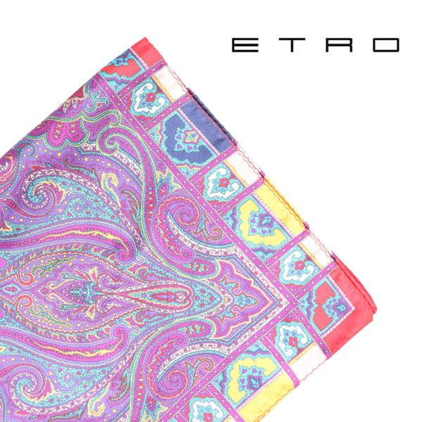 ETRO エトロ ポケットチーフ メンズ シルク100% ペイズリー パープル 紫 並行輸入品 メンズファッション 男性用 ビジネス 日本未入荷 ラッピング無料 送料無料