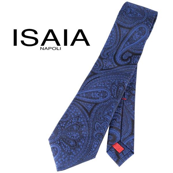 ISAIA イザイア ネクタイ メンズ シルク100% ペイズリー ネイビー 紺 並行輸入品 メンズファッション 男性用 ビジネス 日本未入荷 ラッピング無料 送料無料