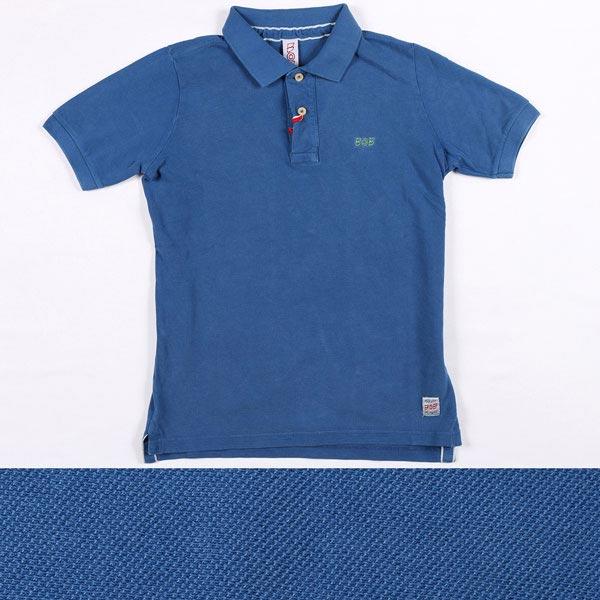 BOB 鳥柄 半袖ポロシャツ BACK DIS122 blue XS 14315B【S14315】 ボブ