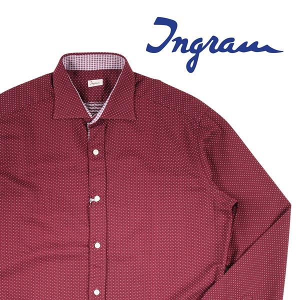 【39】 Ingram イングラム 長袖シャツ メンズ ドット レッド 赤 並行輸入品 メンズファッション 男性用 ビジネス カジュアルシャツ 日本未入荷 ラッピング無料 送料無料