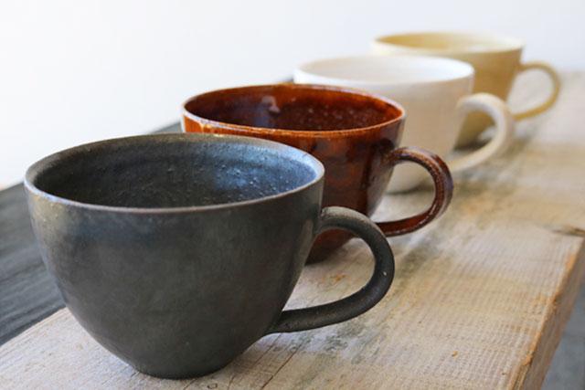 スープカップ 笠間焼 チタン釉/マンガン釉/灰釉/飴釉 窯元
