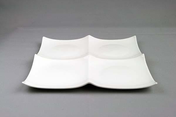 ピュアホワイト クアトロ2×2 スクエアプレートL1枚 大きめ 4つ仕切り皿 定番キャンバス 白い食器 おしゃれ ランチプレート 業務用 角皿 角大皿 レストラン 買物