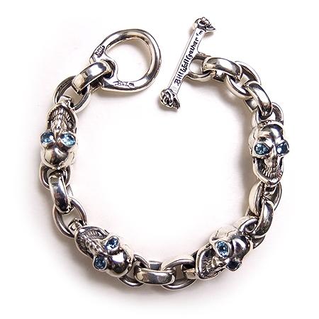 未使用品 ビルウォールレザー Bill Wall Leather Special Items Vintage Skull Bracelet Blue Topas Real カスタム ヴィンテージ スカル ブレスレット ブルー トパーズ 925 シルバー メンズ 【中古】【ベクトル 古着】 181216 ブランド古着ベクトルプレミアム店