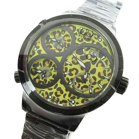 未使用品 カーティス Curtis & Co. Big Time WORLD 57mm 4Time Zone JAPAN LIMITED EDITION 腕時計 レオパード イエロー 黄 メンズ 【中古】【ベクトル 古着】 170820 ブランド古着ベクトルプレミアム店