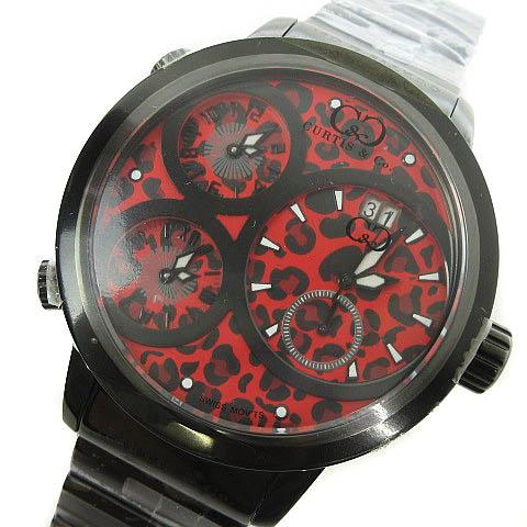 未使用品 カーティス Curtis & Co. Big Time WORLD 57mm 4Time Zone JAPAN LIMITED EDITION 腕時計 レオパード レッド 赤 メンズ 【中古】【ベクトル 古着】 170820 ブランド古着ベクトルプレミアム店
