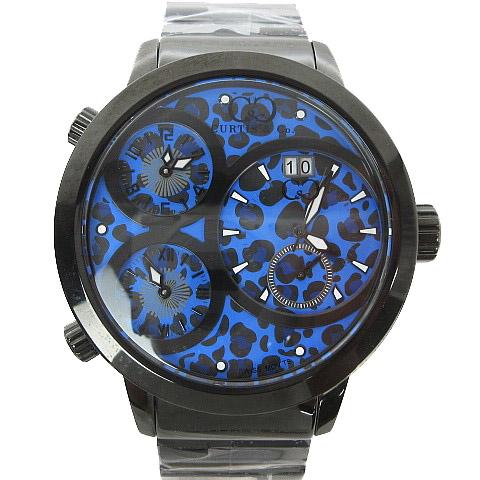 カーティス Curtis & Co. Big Time WORLD 57mm 4Time Zone JAPAN LIMITED EDITION 腕時計 レオパード ブルー 青 メンズ 【中古】【ベクトル 古着】 170917 ブランド古着ベクトルプレミアム店