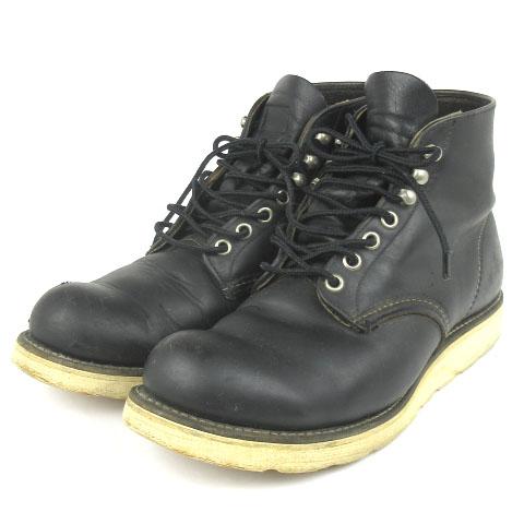 レッドウィング REDWING 8165 6インチ プレーントゥ ブーツ ワーク レザー 刺繍羽タグ 8D 黒 ブラック シューズ 靴 メンズ 【中古】【ベクトル 古着】 180822 ブランド古着ベクトルプレミアム店