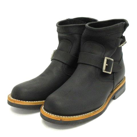 【中古】ピストレロ PISTOLERO エンジニア ブーツ ショート レザー 101-01 黒 ブラック 7 靴 ■SM メンズ 【ベクトル 古着】 200605 ベクトルプレミアム店