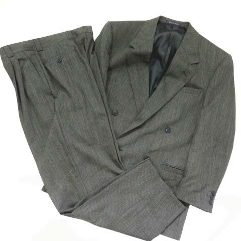 4a31b7085ab5 ヴェルサーチクラシック VERSACE CLASSIC スーツ セットアップ 上下 ジャケット スラックス ヘリンボーン ダブル 総裏地 美品 グレー