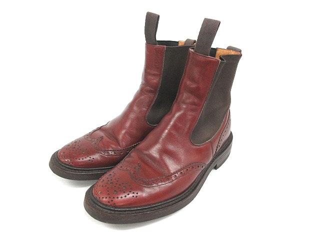 トリッカーズ TRICKER'S ブーツ 2754 HENRY ウィングチップ サイドゴア 8.5 赤茶系 180930 メンズ 【中古】【ベクトル 古着】 180930 ブランド古着ベクトルプレミアム店