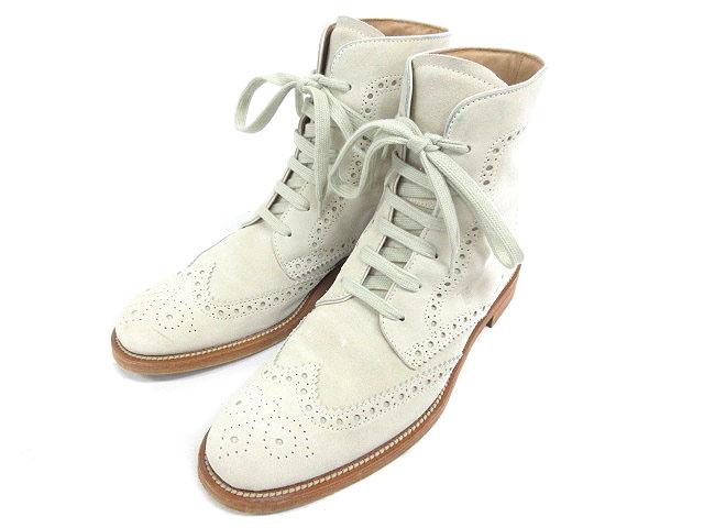 トッズ TOD'S ブーツ ウイングチップ スエード 6 ホワイト 190316 メンズ 【中古】【ベクトル 古着】 190316 ブランド古着ベクトルプレミアム店