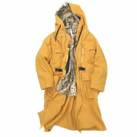 【中古】キミノリモリシタ kiminori morishita 18AW combined weave knit millitary coat ミリタリーコート ジャケット コンビ ハニーイエロー 4 K18AG-CO01L 200129G 【ベクトル 古着】 200129 ベクトルプレミアム店