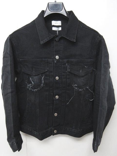 スタジオセブン STUDIO SEVEN 18SS Shadow Custom Denim Jacket デニムジャケット Gジャン ブラックデニム リメイク 加工 黒 S 70863739 0426 メンズ 【中古】【ベクトル 古着】 180426 ブランド古着ベクトルプレミアム店