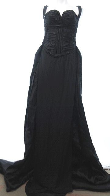 【中古】 未使用品 ディースクエアード DSQUARED2 フォーマル ワンピース ドレス シルク ロングトレーン 黒 ブラック 40 0401 IBS14 レディース 【ベクトル 古着】 190401
