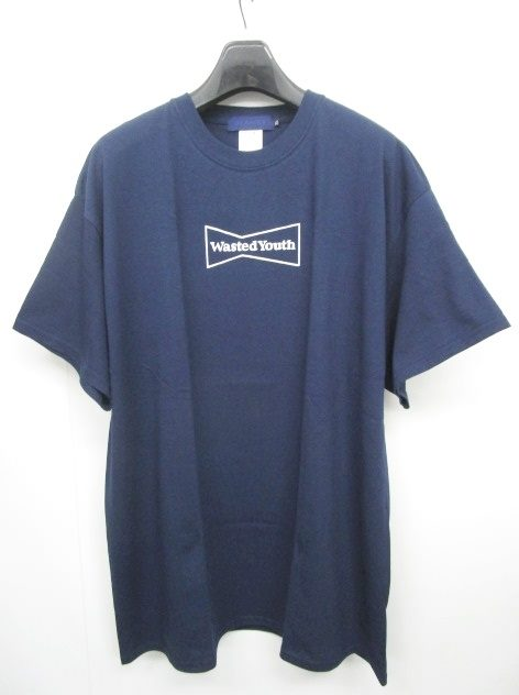 ビームスティ BEAMS T 美品 WASTED YOUTH ウェイステッドユース Tシャツ カットソー ロゴ 半袖 紺 ネイビー XL 0606 メンズ 【中古】【ベクトル 古着】 180606 ブランド古着ベクトルプレミアム店
