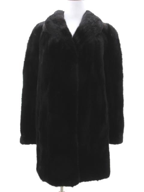 サガミンク SAGA MINK ミンク ファー コート ロング 毛皮 ジャケット 11 ブラウン混ブラック 上質 高級コート IBS4 レディース 【中古】【ベクトル 古着】 190225 ブランド古着ベクトルプレミアム店