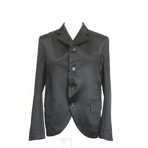 【中古】 コムデギャルソン COMME des GARCONS 絹シルク混カット デザイン サテン テーラードジャケット黒ブラックXS レディース 【ベクトル 古着】 190514