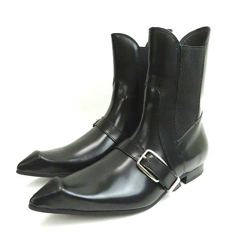 【中古】未使用品 コムデギャルソン COMME des GARCONS JOHN FLUEVOG BUCKLE CHELSEA BOOT IN BLACK GC-K123-001-1-1 ブーツ 黒ブラック レディース 【ベクトル 古着】 191007 ベクトルプレミアム店